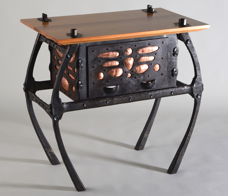 Small iron table with drawer